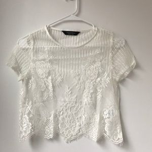 Urban Renewal White Lace Cropped Sheer Top Size S